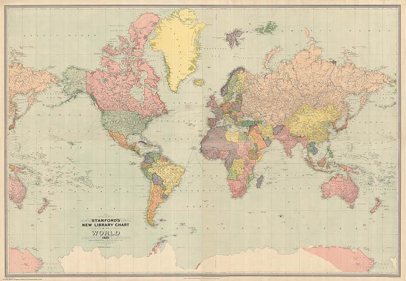 Stanford's new library chart of the World - 1920